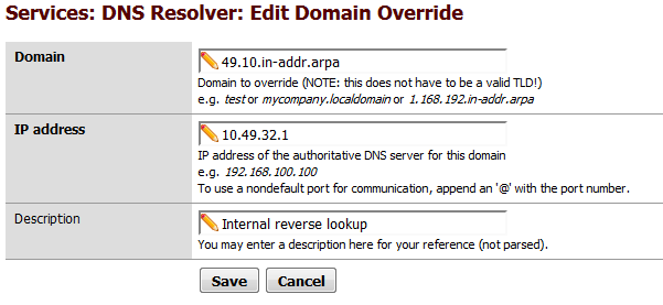 Bug #4014: Unbound private reverse lookup domain overrides not