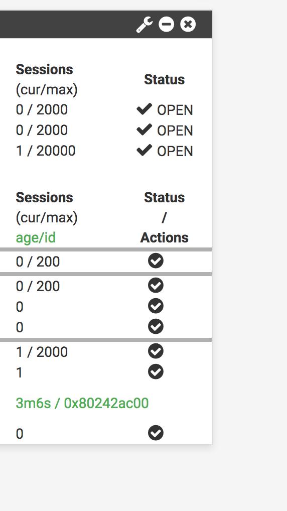 Bug #7987: Haproxy Widget: Missing Actions Button - pfSense
