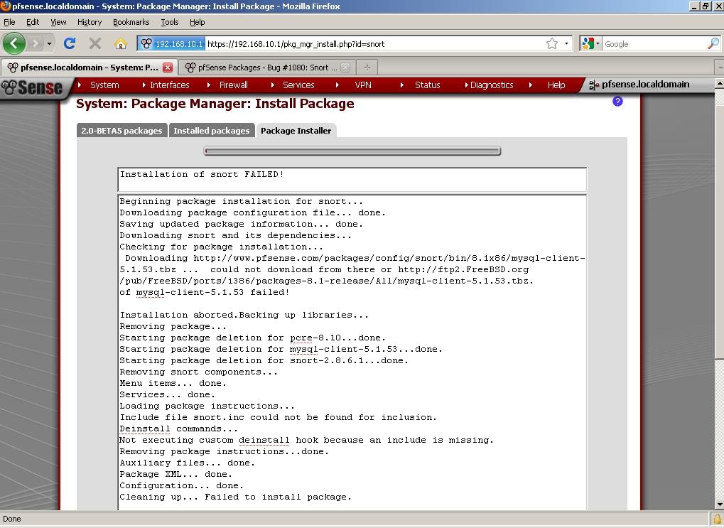 Bug #1080: Snort Installation fails - pfSense Packages